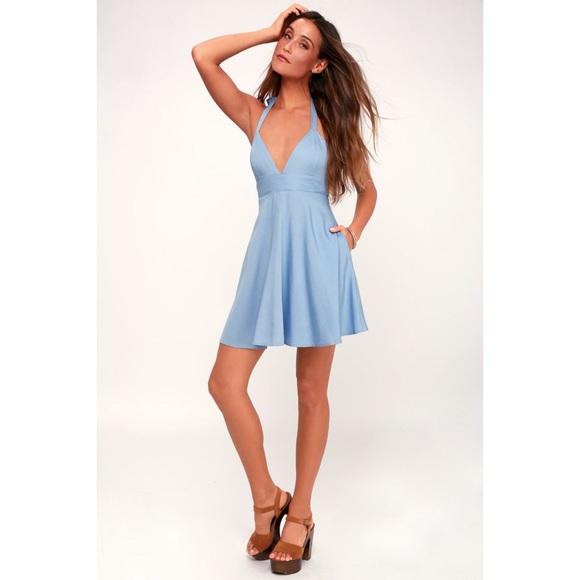 NWOT Lulu's SMITTEN BLUE CHAMBRAY HALTER Dress